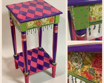 Whimsical painted furniture, hand painted furniture table, harlequin table