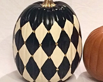 Painted Pumpkin //Autumn Decoration 13 inch //Autumn Centerpiece//Harlequin Painted Pumpkin