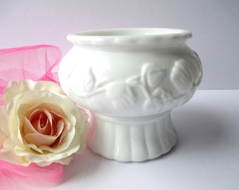 Vintage Milk Glass Ivy Planter Serving Bowl - Weddings Bridal