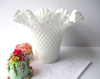 Large Vintage Fenton Milk Glass Hobnail Flared Vase