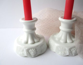 Vintage  Westmoreland Milk Glass Paneled Grape Pair of Candleholders