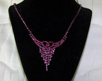Charming Reddish Prong Set Rhinestone Necklace From 1950s