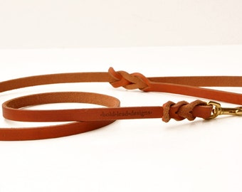 Custom Traditional Lead: premium leather leash in TAN--you choose the length and width