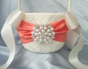 Ivory Coral Flower Girl Basket Ivory Satin Flower Girl Basket Pearl Rhinestone Accent Wedding Basket Unique