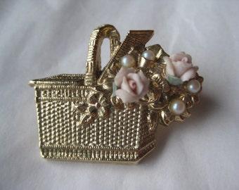 Rose Flower Basket Pink Brooch Pearl Gold Pin Vintage