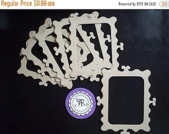 50% Vac. Sale Frame, Chipboard Die Cuts - 59 - Chipboard Rectangular Curly Frame, Kraft Die Cuts, Chipboard Frames Set of 4 by Annie42 on Et