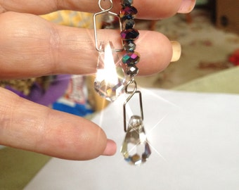 DOUBLE DANGLE  Crystal Rear view Mirror  Suncatcher, Car Jewel, Ornament, Feng Shui Crystal