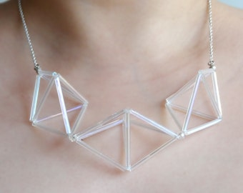 GEOMETRIC clear - transparent glass bugle beaded necklace