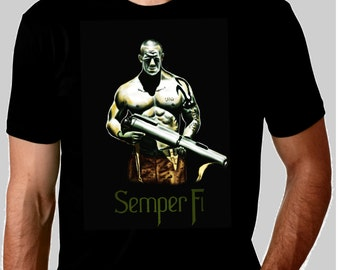 Semper Fi Marine cotton black t-shirt