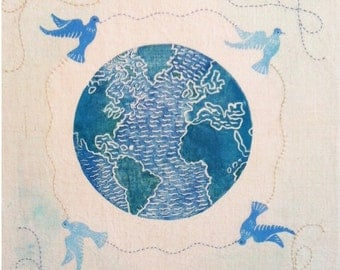 Peaceful Planet, a wish for our world, original block print & hand embroidery on linen canvas
