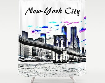 Shower Curtains Art Shower Curtain Bathroom Decor Design 26 New-York City Cityscape digital art L.Dumas
