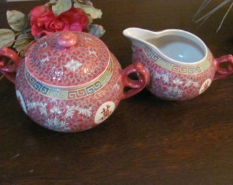 Asian Famille Rose Hand painted Porcelain Cream and Sugar Bowl Set(Teapot in my Store)
