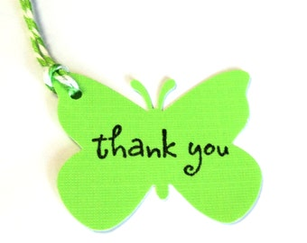 22 Tags, Gift Tags, Thank You, Merchandise, Neon Green, Butterflies, Party Favor Tags, Hang Tags