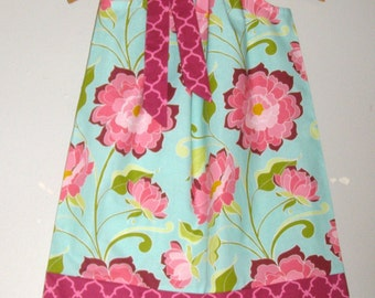 Pillowcase dress Teal Burgundy Halle Rose  RIley Blake fabric Flowers pillowcase handmade 3,6,9,12 month  2t,3t,4t,5t,6,7,8,10,12