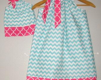 Matching dresses SALE 10% off code is tiljan  Aqua chevron pillowcase dress America Girl Doll  6,9,12,18 month 2t, 3t, 4t, 5t,6,7,8,9,10,12