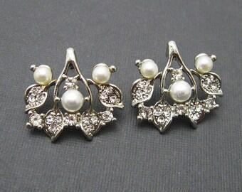 Rhinestone Pearl Earrings Bridal Jewelry E6894