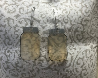 Small Sweet Tea/Honey Ball Mason Jar Earrings Clear
