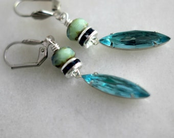 Blue Green Crystal Earrings, Aqua Blue Dangles, Turquoise Green, Dark Blue, Wedding, Bridesmaids