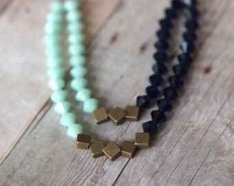 50% Off Mint Indigo Blue Necklace  Swarovski Crystal Statement Piece  Double Strand  Antiqued Brass  Wedding  Gift Box