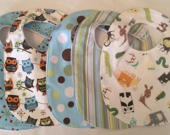 Baby Boy Bib Gift Set - 5 Bibs with snap closures and minky backing READY TO SHIP