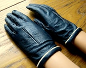 Kid Leather Gloves, Navy Blue Leather Gloves, Vintage Driving Gloves, Leather Driving Gloves, Realkid Leather Gloves, Blue Leather Gloves