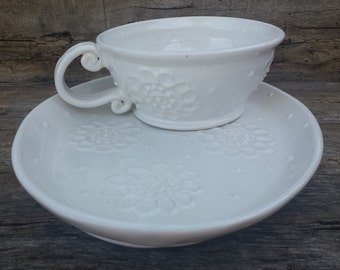 White soup and sandwich set with paisley flowers