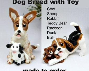 Dog Breed with Toy Christmas Ornament Figurine Cake Topper Made to Order Porcelain