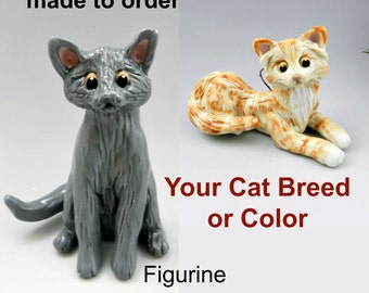 Cat Breed or Color Christmas Ornament Figurine Memorial Cake Topper Porcelain