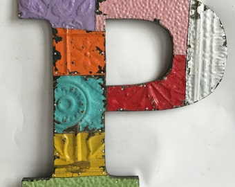 """Reclaimed  Tin Ceiling Wrapped 16"""" Letter """"P"""" Patchwork Metal Mosaic Wall Hanging 62-16"""
