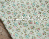 Adorable Floral Flannel- Vintage Fabric 60s 70s New Old Stock Quilts Daisies