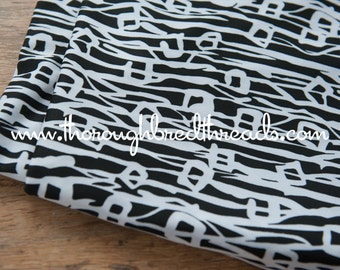 Mod Black White Geometric - New Old Stock Vintage Fabric 60s 70s Abstract