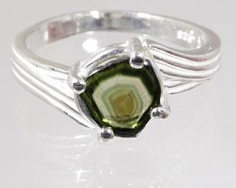 Crystal of Natural Watermelon Multi Color Tourmaline 1.05 carats Hand Set in Sterling Ring - Fast Free Shipping