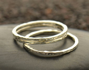 Sterling Silver Hammer Finish Stacking Ring - Solid 925 - Insurance Included