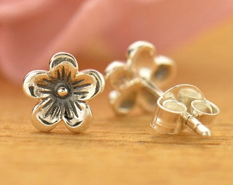 NEW - Sterling Silver Cherry Blossom Post Earrings - Solid 925 - Insurance Included