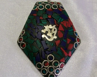Om Pendant Inlayed Pendant Red Sea Coral Lapis Lazuli Treasure Chest Findings 925 Sterling Overlay Mosaic Charm  BB02