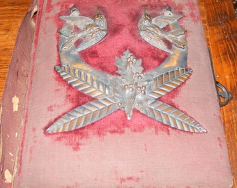 Antique Victorian Era Photographs in Worn Red Crushed Velvet Photo Album Beautiful Raised Metal Bird Emblem