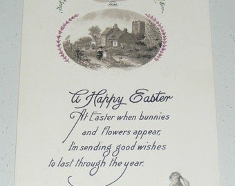 Antique Postcard USA Easter Embossed Standing Bunny Rabbit with Egg Basket and Country Manor