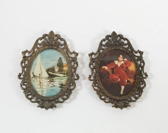 Vintage Set of 2 Italian Metal oval Framed Young Girls Picture Wall Hanging