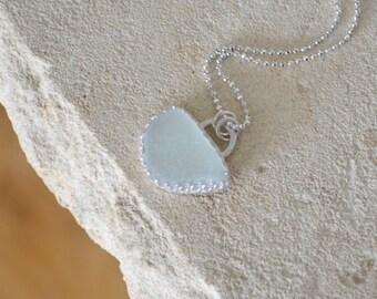 White Sea Glass Necklace Adriatic Coast