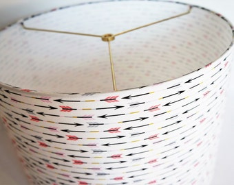 Fabric drum lamp shade, pink black arrows