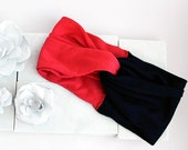 Twisted Turban Headband - Deep Coral + Navy Blue - Women's | Teen | Child | Baby Headwrap
