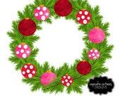 Watercolor Ornament Wreath- Holiday Christmas Single  Digital Clipart Elements Commercial use Instant Download