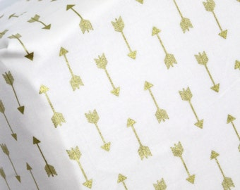 Gold Arrow Fitted Crib Sheet In-Stock, Fitted Crib Sheet or Pad Cover in Metallic Gold Arrow Fabric