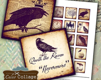 Gothic Raven Collage Sheet 1.5x1.5 inch Square Printable Download for Pendants Bezel Decoupage Paper Crafts Calico Collage Art