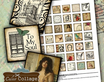 More Eclectic Dreams - Digital Collage Sheet Printable 1x1 Inch Square Images for Pendants Bezel Picture Trays Magnets Calico Collage