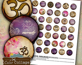 Zen Collage Sheet Yoga Digital Collage Sheet Bottle Cap Images 1 inch Circles Namaste Collage Sheet Circle Digital Images Printable Images