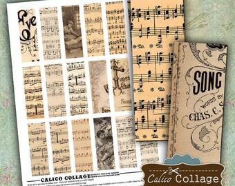 Sheet Music, Printable Ephemera, 1x3 Inch Images, Collage Sheet, Digital Collage, Printable Paper, 1x3 Collage Sheet, Microslide Images