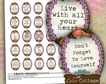 Inspiration Digital Collage Sheet 30x40mm Ovals for Cameos, Pendants, Bezel Settings, Cabochons, Word Collage Sheet, Quote Images