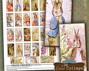 Story Book Bunnies Digital Collage Sheet Beatrix Potter 1x2 Domino Images for Pendants, Magnets, Decoupage, Journaling, Card Making
