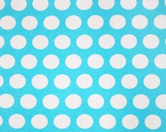 Ice blue dots 1 yard cotton lycra knit